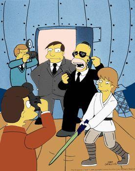 Die Simpsons - Zum Schutz von Bürgermeister Quimby (M.) hat Homer (2.v.r.) Sk...