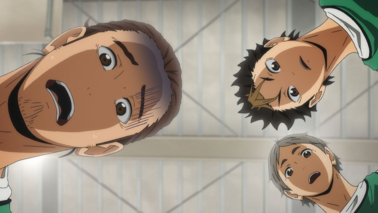 "Asahi Azumane (l.); Yu Nishinoya (r., oben); Koshi Sugawara (r., unten) - Bildquelle: H.Furudate / Shueisha,""Haikyu!!?Project,MBS"