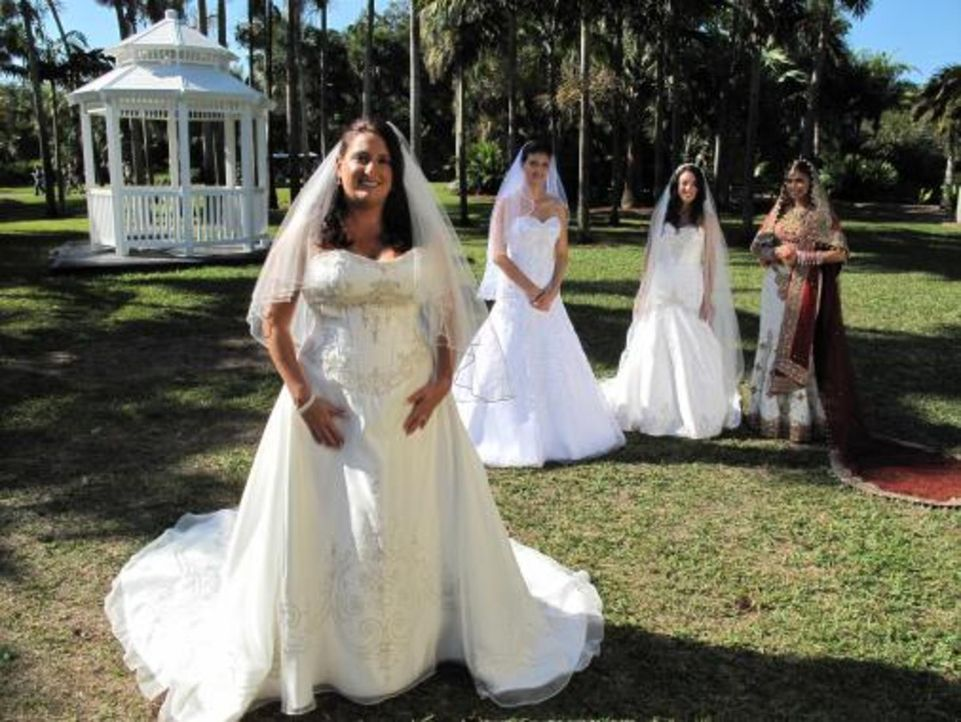 Vier Bräute treten an, im Wettkampf um das schönste Hochzeitsfest: Karen (l.), Vidya (r.), Maria (2.v.r.) und Nataly (2.v.l.) - Bildquelle: 2009 Discovery Communications, LLC