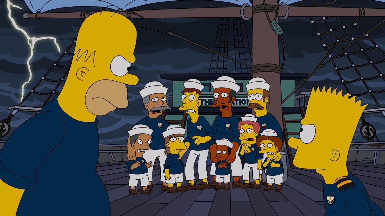 Homer (l.) kann einfach nicht verstehen, dass Bart (r.) die Therapie auf dem Schiff gefällt ... - Bildquelle: 2014 Twentieth Century Fox Film Corporation. All rights reserved.