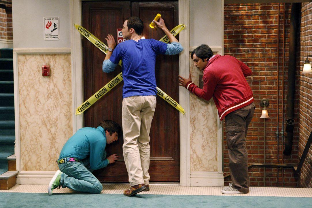 Führen nichts Gutes im Schilde: Sheldon (Jim Parsons, M.), Rajesh (Kunal Nayyar, r.) und Howard (Simon Helberg, l.) ... - Bildquelle: Warner Bros. Television
