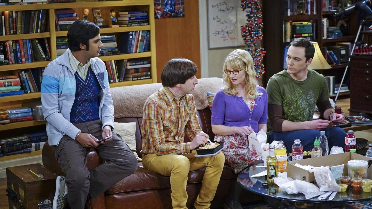 Es ist Thanksgiving und Howard (Simon Helberg, 2.v.l.), Bernadette (Melissa Rauch, 2.v.r.), Raj (Kunal Nayyar, l.) und Sheldon (Jim Parsons, r.) hab... - Bildquelle: 2015 Warner Brothers
