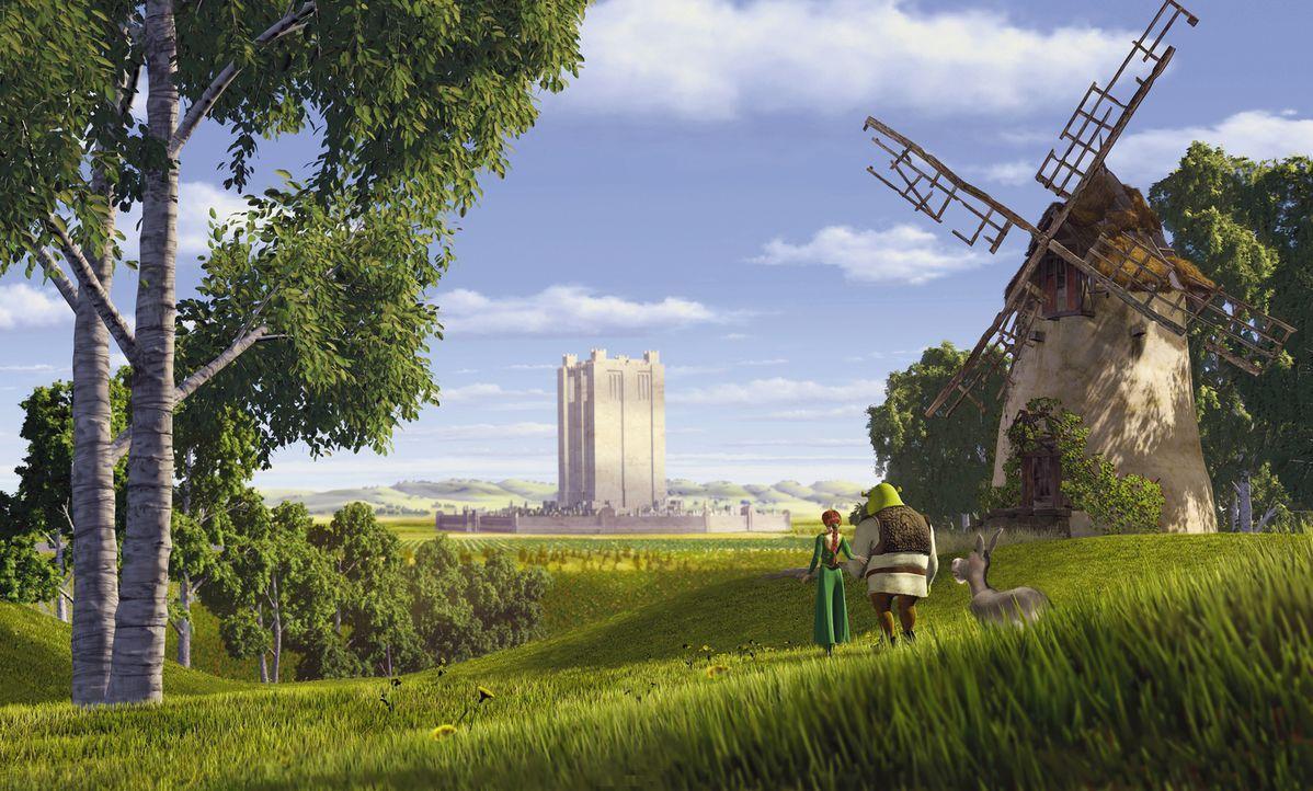Als die Prinzessin Fiona (l.), Shrek (M.) und der Esel (r.) das protzige Schloss von Lord Farquaad erreichen, ist keiner von ihnen wirklich glücklic... - Bildquelle: TM &   2001 DreamWorks L.L.C.