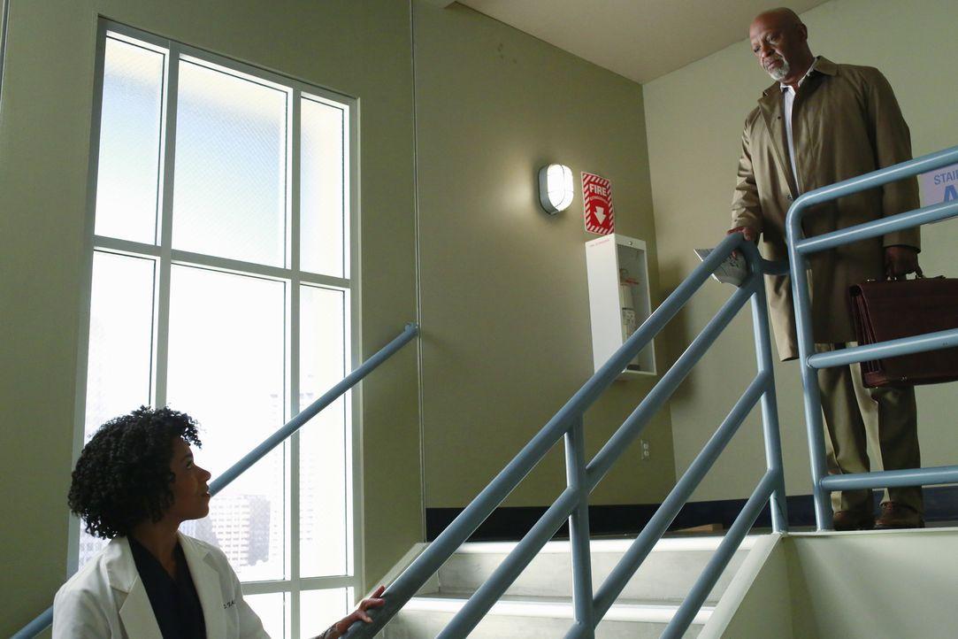 Richard (James Pickens Jr., r.) sorgt sich um Maggie (Kelly McCreary, l.) und möchte die frostige Stimmung zwischen ihr und Meredith auftauen ... - Bildquelle: ABC Studios