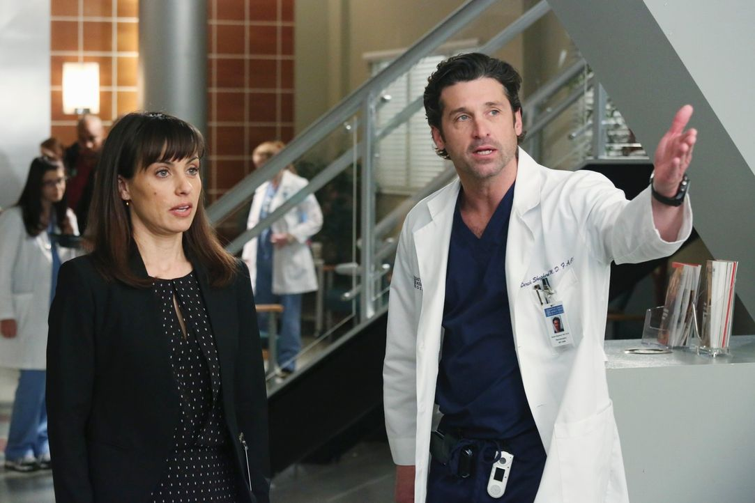 """Dr. Derek Shepherd (Patrick Dempsey, r.) versucht Dr. Alana Cahill (Constance Zimmer, l.) immer wieder zu erklären, dass """"Pegasus"""" kein guter Invest... - Bildquelle: ABC Studios"""