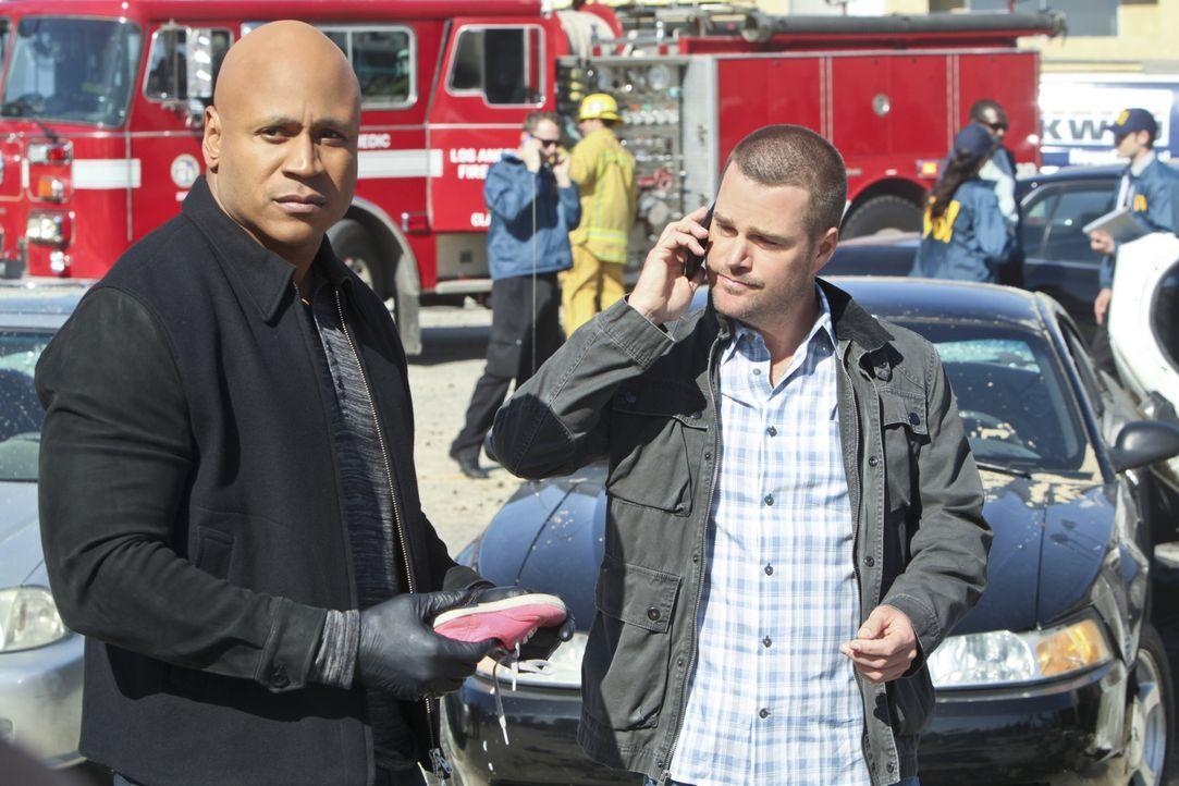 Arbeiten mit Hochdruck daran, die Attentäter zu fassen, die für eine Explosion auf einer Charity-Veranstaltung verantwortlich sind: Sam (LL Cool J,... - Bildquelle: CBS Studios Inc. All Rights Reserved.