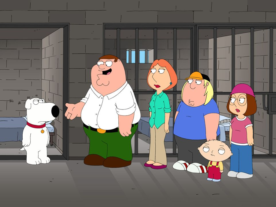 Peter (2.v.l.), Lois (4.v.r.), Chris (3.v.r.), Stewie (2.v.r.) und Megan (r.) besuchen Brian (l.), der wegen des Besitzes einer Kleinstmenge Marihua... - Bildquelle: 2006-2007 Twentieth Century Fox Film Corporation. All rights reserved.