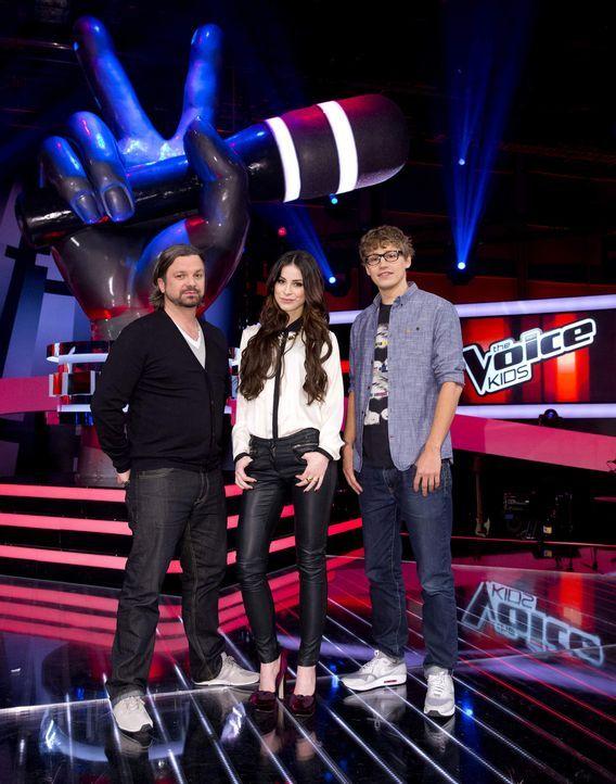 """Die Coaches von """"The Voice Kids"""": Henning Wehland (l.), Lena Meyer-Landrut (M.) und Tim Bendzko (r.) - Bildquelle: Richard Hübner SAT.1"""