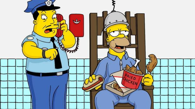 Um Marge zu retten, nimmt Homer (r.) den Mord an der alten Dame auf sich. Abe...