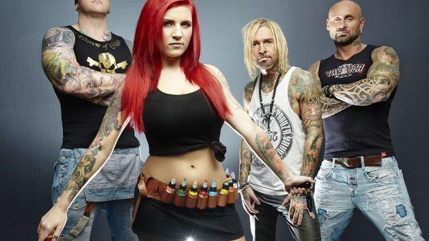 (1. Staffel) - Die vier Tattoo-Profis (v.l.n.r.) Randy Engelhard, Nancy Mietz...