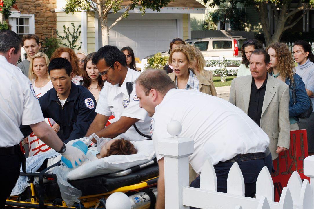 Während der lautstarken Protestaktion gegen Art, erleidet Rebecca (Jennifer Dundas, liegend) einen Herzinfarkt und wird ins Krankenhaus gebracht. Ly... - Bildquelle: 2005 Touchstone Television  All Rights Reserved