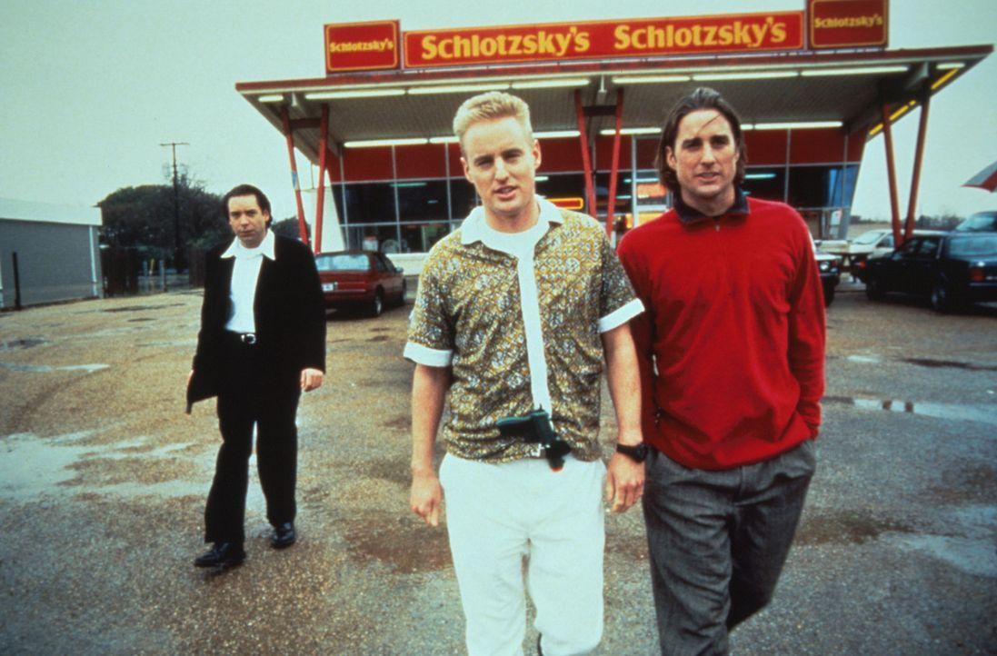 Bob (Robert Musgrave, l.), Dignan (Owen C. Wilson, M.) und Anthony (Luke Wilson, r.) träumen von einer Zukunft als Kriminelle. Zur Probe brechen si... - Bildquelle: Columbia Pictures