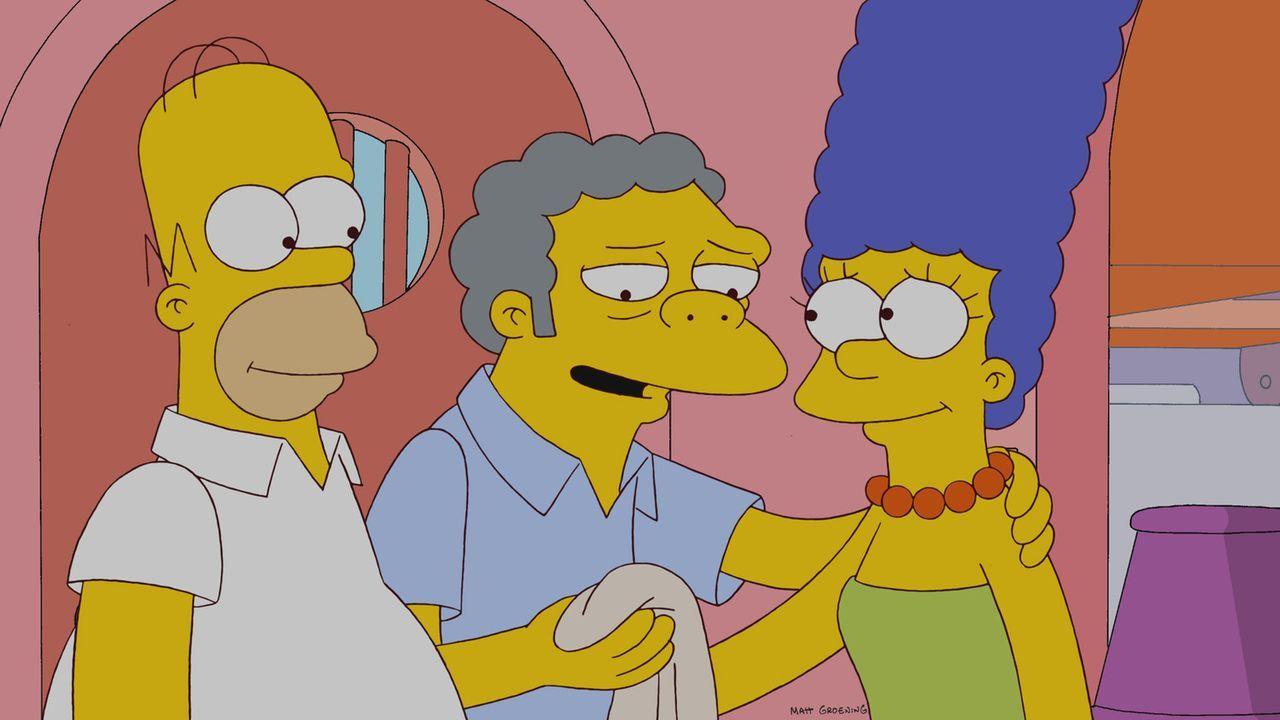 Der Stoff, aus dem die Träume sind: Homer (l.), Moe (M.) und Marge (r.) ... - Bildquelle: und TM Twentieth Century Fox Film Corporation - Alle Rechte vorbehalten