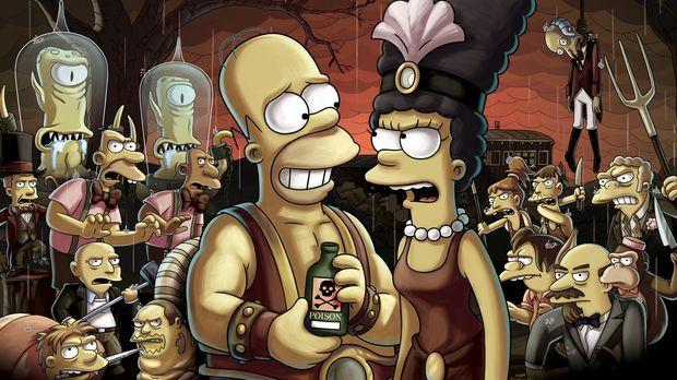Die Trapezkünstlerin Marge (r.) und der Kraftprotz Homer (l.) sind im Wanderz...