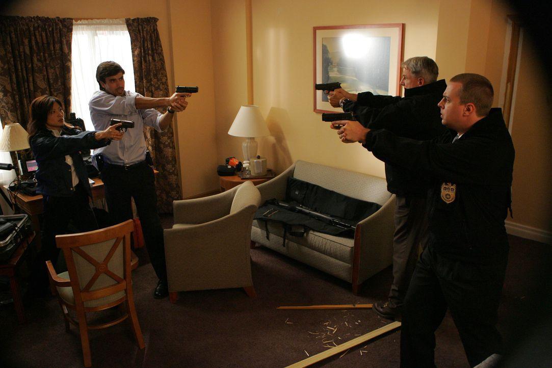 Gibbs (Mark Harmon, 2.v.r.) und McGee (Sean Murray, r.) stellen fest, dass FBI Agent Maya (Michelle Krusiec, l.) und FBI Agent Yussif (Philip Rhys,... - Bildquelle: TM &   2006 CBS Studios Inc. All Rights Reserved.
