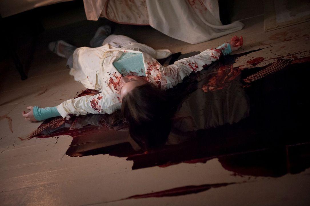 Die attraktive Beth LeBeau (Hilary Jardine) wird Opfer eines mordsüchtigen Monsters, das die Frau unters Bett zieht, tötet und das Gesicht mit ein... - Bildquelle: Brooke Palmer 2013 NBCUniversal Media, LLC