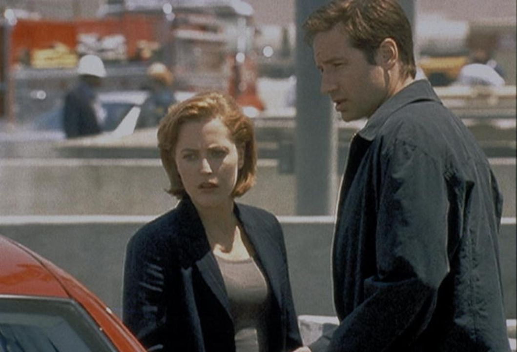 Auf dem Parkplatz eines Atomkraftwerkes in Phoenix machen Mulder (David Duchovny) und Scully (Gillian Anderson, l.) eine erstaunliche Entdeckung. - Bildquelle: TM +   2000 Twentieth Century Fox Film Corporation. All Rights Reserved.