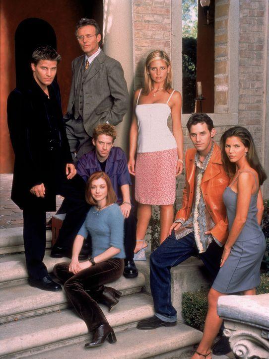 (3. Staffel) - Auf der Jagd nach Dämonen: (v. hinten l. nach vorne r.) Mr. Giles (Anthony Stewart Head), Buffy (Sarah Michelle Gellar), Xander (Nich... - Bildquelle: (1999) Twentieth Century Fox Film Corporation.