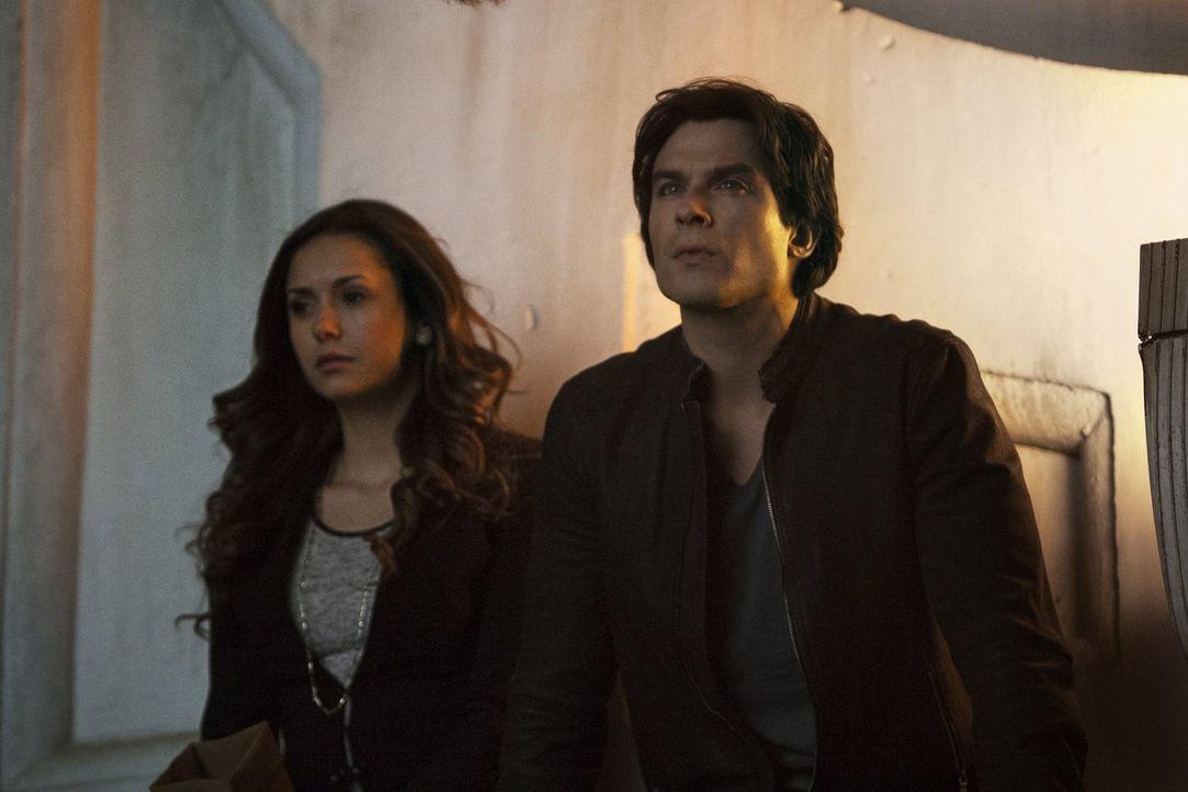 Nachdem Damon (Ian Somerhalder, r.) ein beeindruckendes Angebot hat, fühlt sich Elena (Nina Dobrev, l.) unfähig eine Entscheidung zu treffen ... - Bildquelle: Warner Bros. Entertainment, Inc