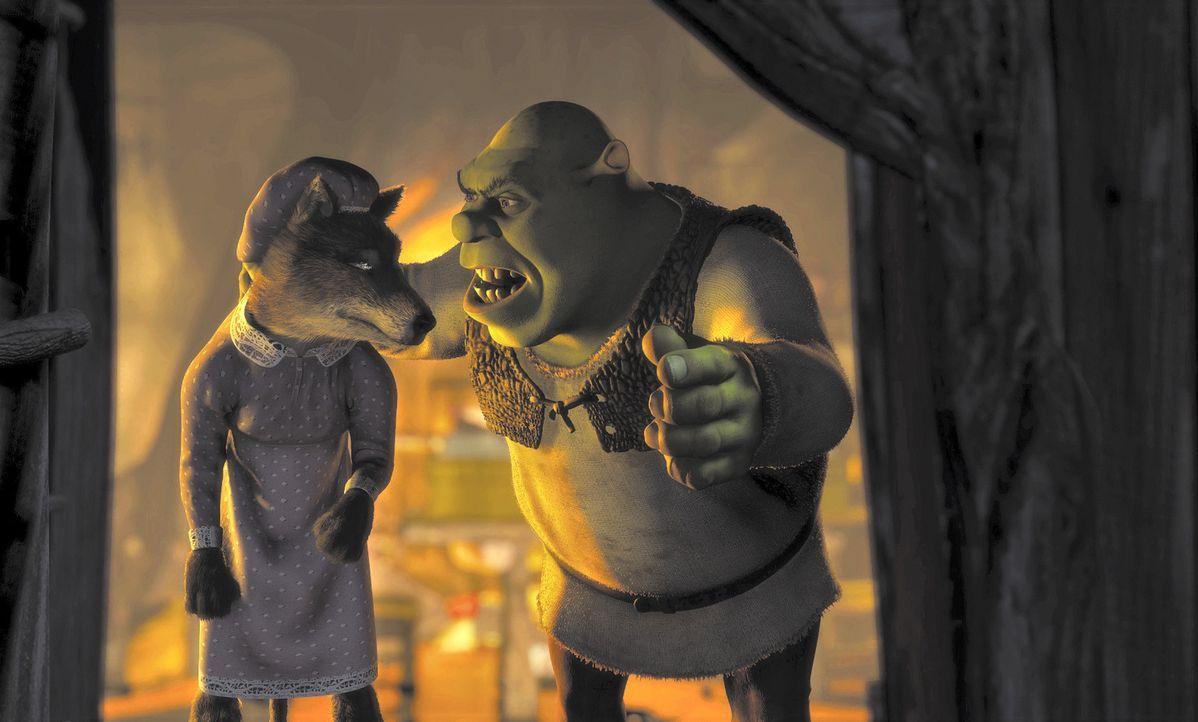 Ungebetene Gäste haben bei Oger Shrek (r.) keine guten Karten. Kurzerhand setzt er den Wolf (l.) vor die Tür, denn Shrek geht nichts über seine b... - Bildquelle: TM &   2001 DreamWorks L.L.C.