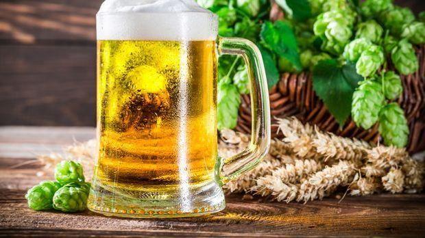 Gefüllter Bierkrug neben Zutaten zum Bierbrauen