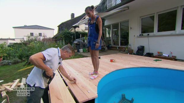 preview katja und thilo bauen terrasse mit pool. Black Bedroom Furniture Sets. Home Design Ideas
