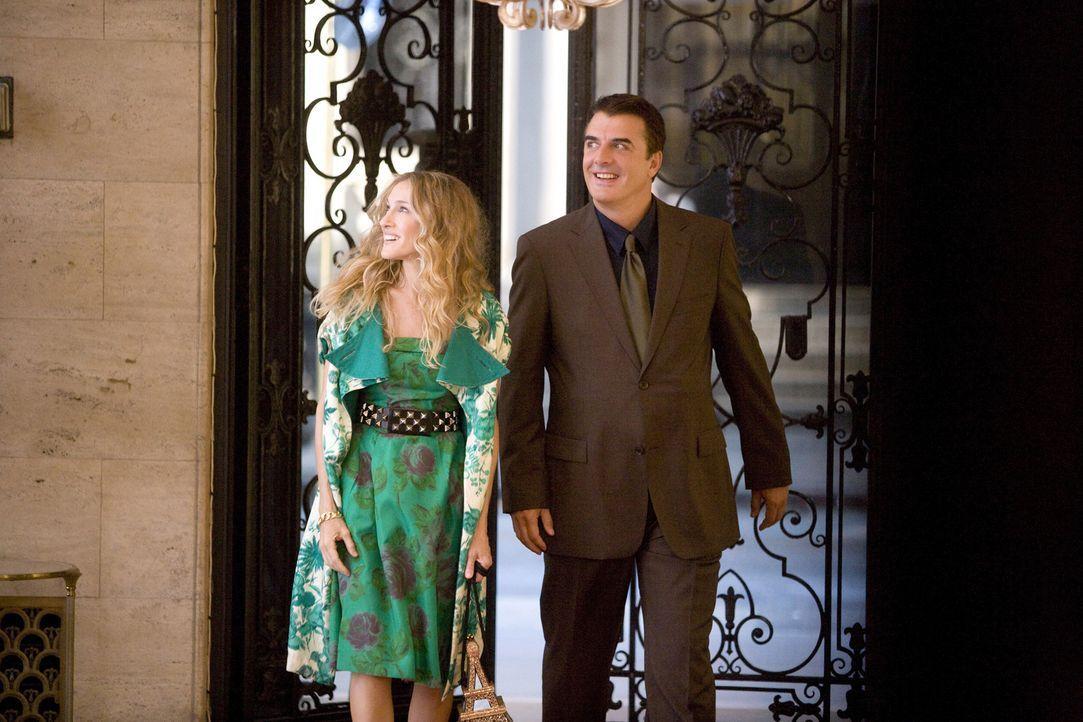 Wagen eine gemeinsame Zukunft: Doch jetzt fehlt Mr. Big (Chris Noth, r.) und Carrie (Sarah Jessica Parker, l.) noch die perfekte Wohnung ... - Bildquelle: Warner Brothers