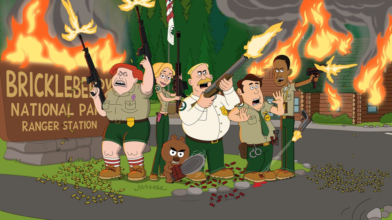 (2. Staffel) - Erleben aufregende Abenteuer im Brickleberry Nationalpark: Connie (l.), Ethel (2.v.l.), Steve (2.v.r.), Woody (3.v.r.), Malloy (3.v.l... - Bildquelle: 2013 Twentieth Century Fox Film Corporation and Comedy Partners. All rights reserved.