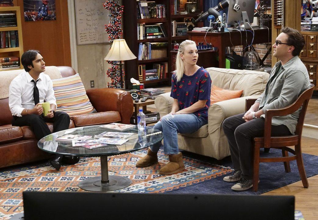 """Während Raj (Kunal Nayyar, l.) seine """"Beziehung"""" mit Howard hinterfragt, überdenkt Penny (Kaley Cuoco, M.) plötzlich auch ihr Verhalten Leonard (Joh... - Bildquelle: Warner Bros. Television"""
