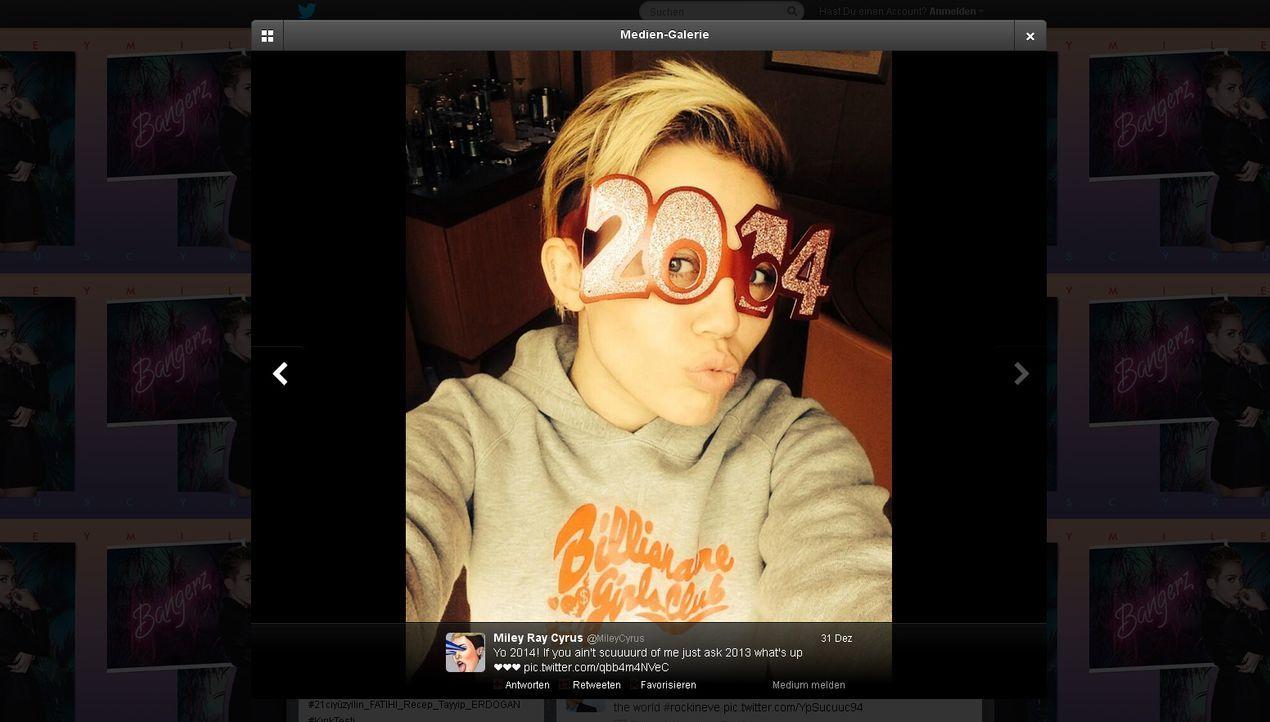 Neujahr2014-Miley-Cyrus-twitter-com-Miley-Cyrus - Bildquelle: twitter.com / Miley Cyrus