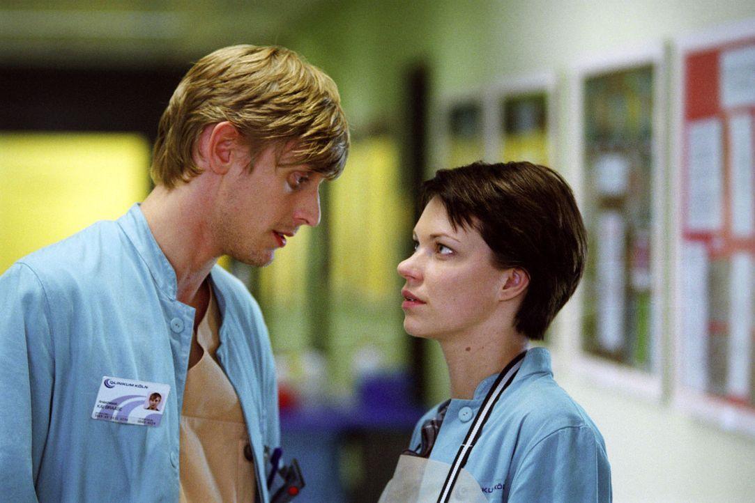 Hanna (Theresa Hübchen, r.) und Kai (Martin Glade, l.), der als Assistent von Prof. Winkler arbeitet, kommen sich näher, aber kann sie ihm auch ih... - Bildquelle: Sat.1