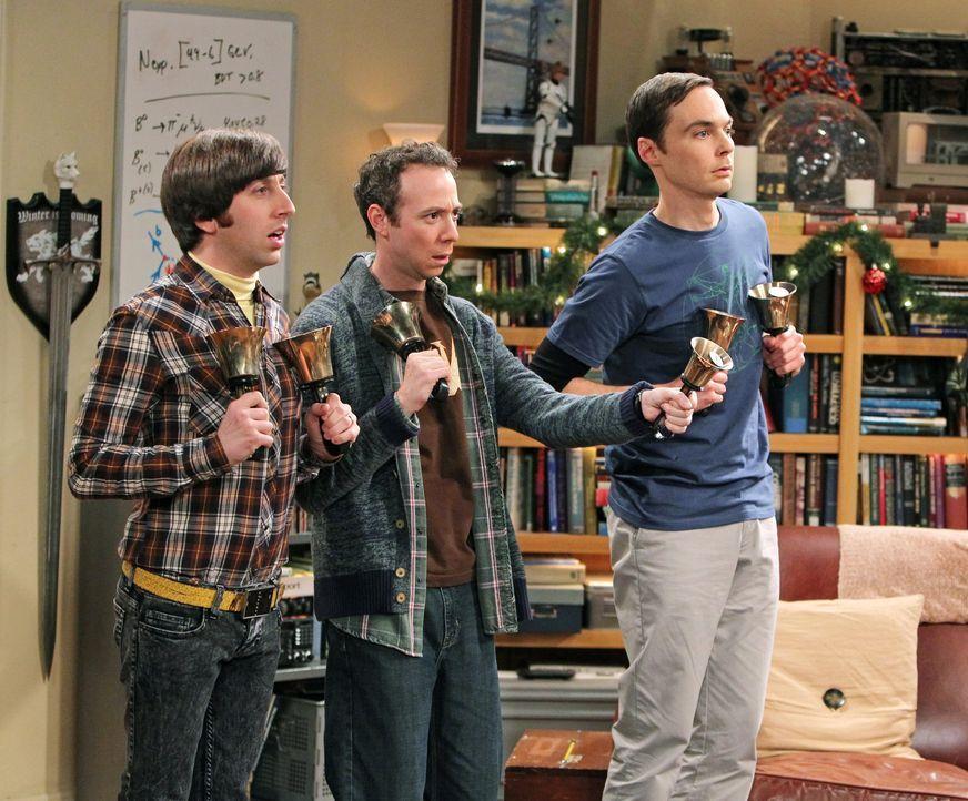 Während Penny, Bernadette und Amy versuchen, ein Mädchen für Raj zu finden, spielen Sheldon (Jim Parsons, M.), Howard (Simon Helberg, l.), Leonard u... - Bildquelle: Warner Bros. Television