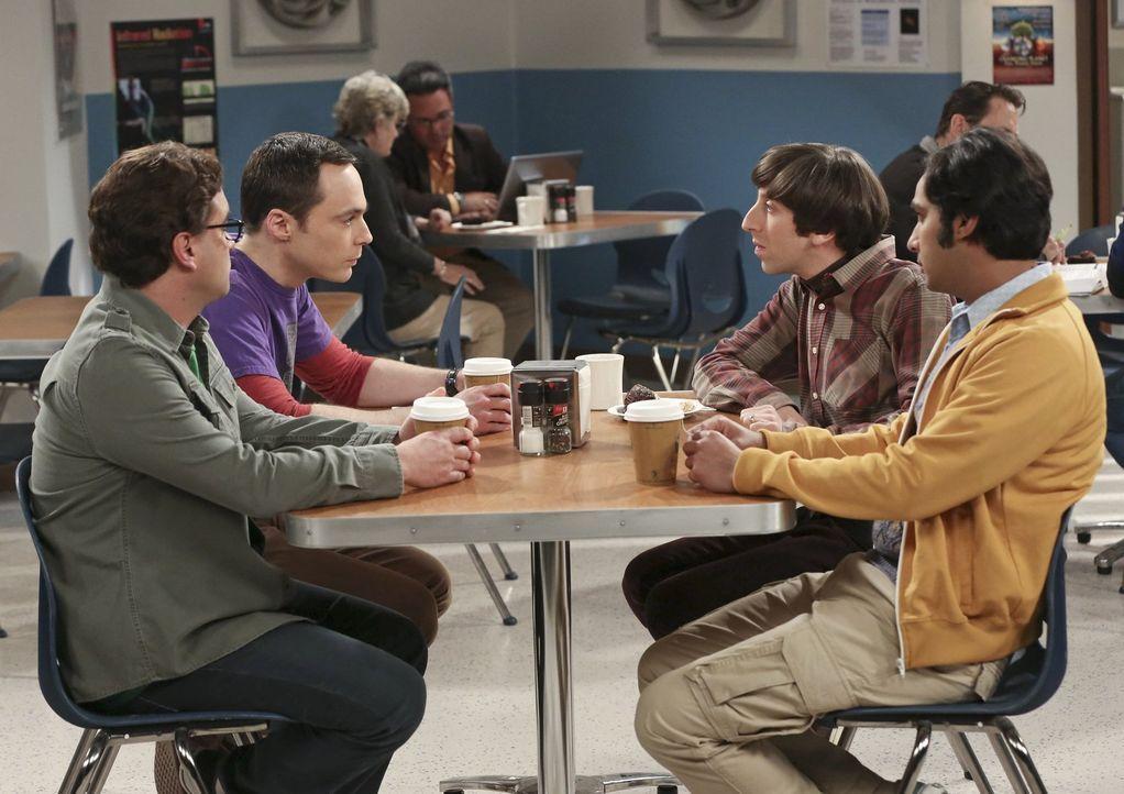 Raj (Kunal Nayyar, r.) und Leonard (Johnny Galecki, l.) können in Ruhe an ihrem Projekt arbeiten, während Sheldon (Jim Parsons, 2.v.l.) und Howard (... - Bildquelle: Warner Bros. Television