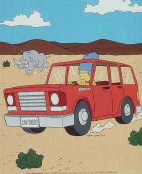 Die Simpsons - Marge gelingt es, mit dem Wagen ein riesiges Rhinozeross abzul...