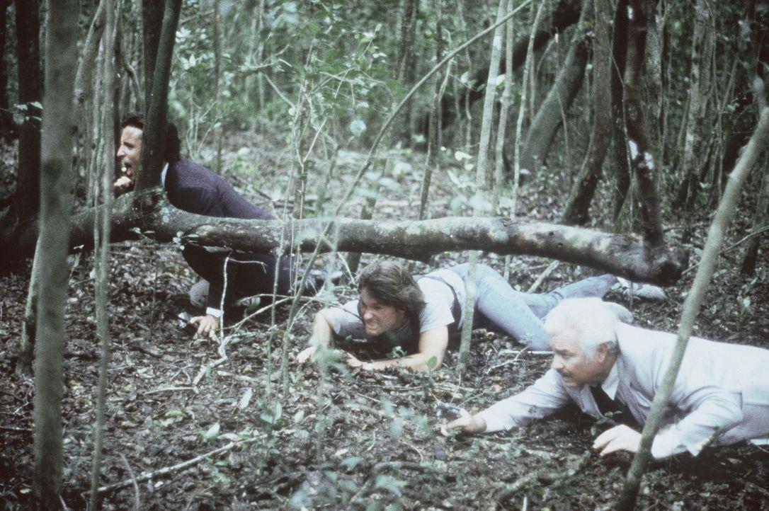 Malcolm (Kurt Russell, M.) und sein Kollege Wilson (Richard Bradford, r.) verfolgen den Killer in den Everglades ... - Bildquelle: Orion Pictures Corporation