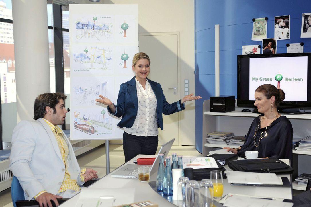 Anna gibt bei der Präsentation alles, aber der Kunde reagiert nicht wie gewünscht... v.l.n.r.: Jonas (Roy Peter Link), Anna (Jeanette Biedermann),... - Bildquelle: Sat.1