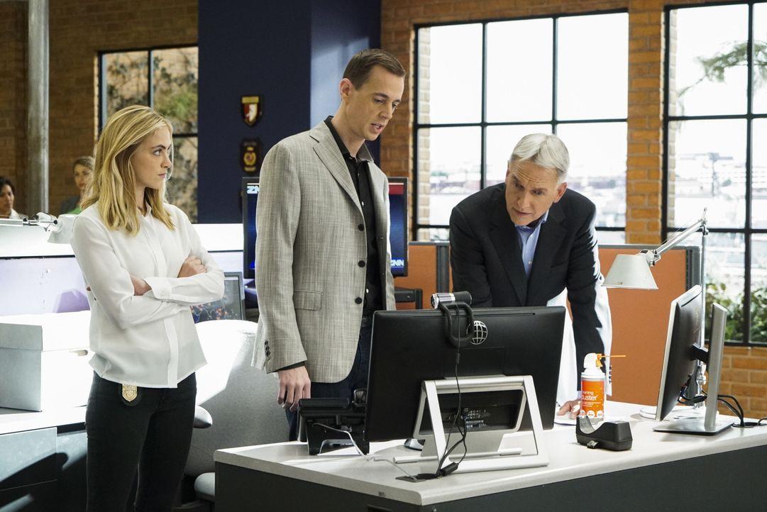 Gibbs (Mark Harmon, r.), Bishop (Emily Wickersham, l.) und McGee (Sean Murray, M.) ermitteln im Fall einer tödlichen Auto-Explosion, die offensichtl... - Bildquelle: Bill Inoshita 2016 CBS Broadcasting, Inc. All Rights Reserved
