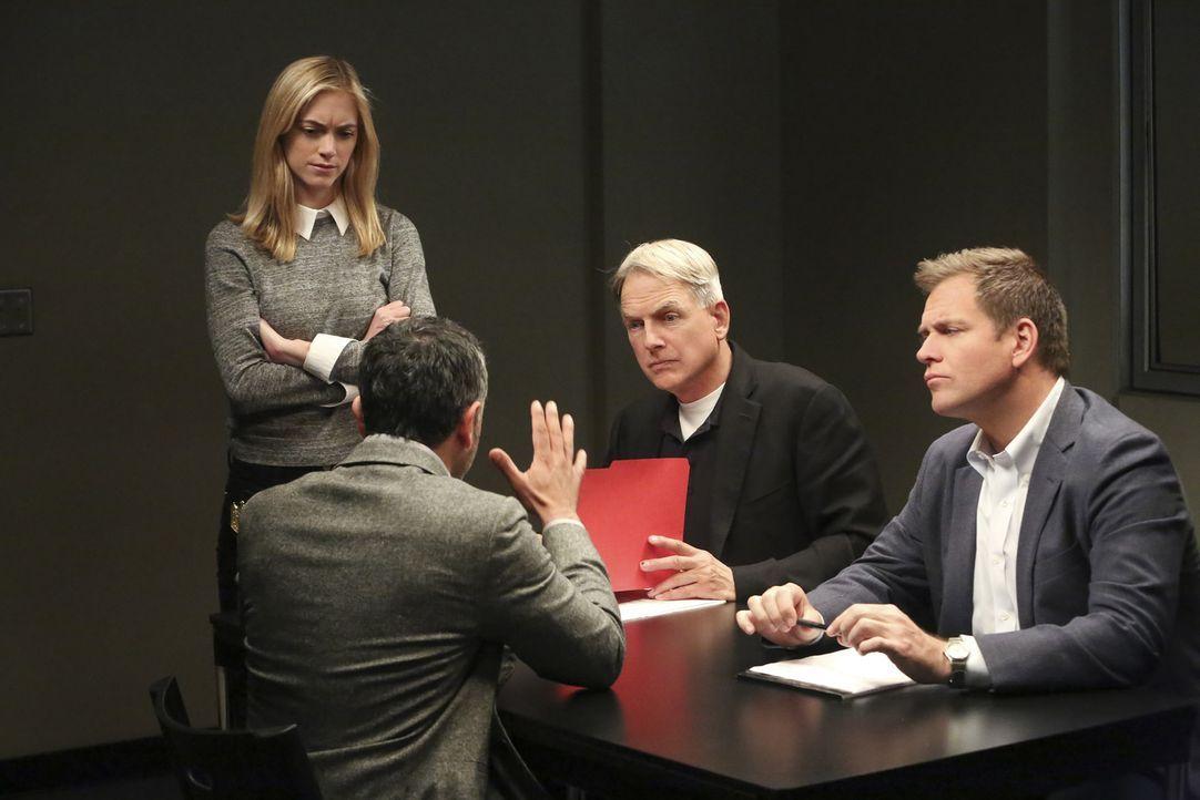 Bei den Ermittlungen: Gibbs (Mark Harmon, 2.v.r.), Bishop (Emily Wickersham, l.) und Tony (Michael Weatherly, r.) ... - Bildquelle: Patrick McElhenney CBS Television