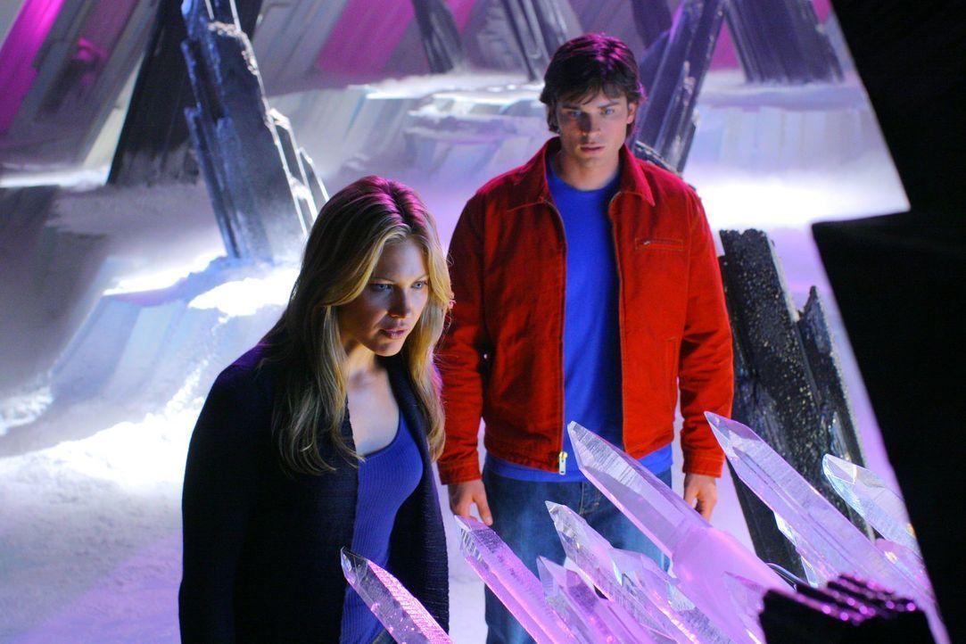 Zwischen Clark (Tom Welling, r.) und Raya (Pascale Hutton, l.) entwickelt sich eine intensive Beziehung. Wird der aus der Phantomzone entkommene Bae... - Bildquelle: Warner Bros.