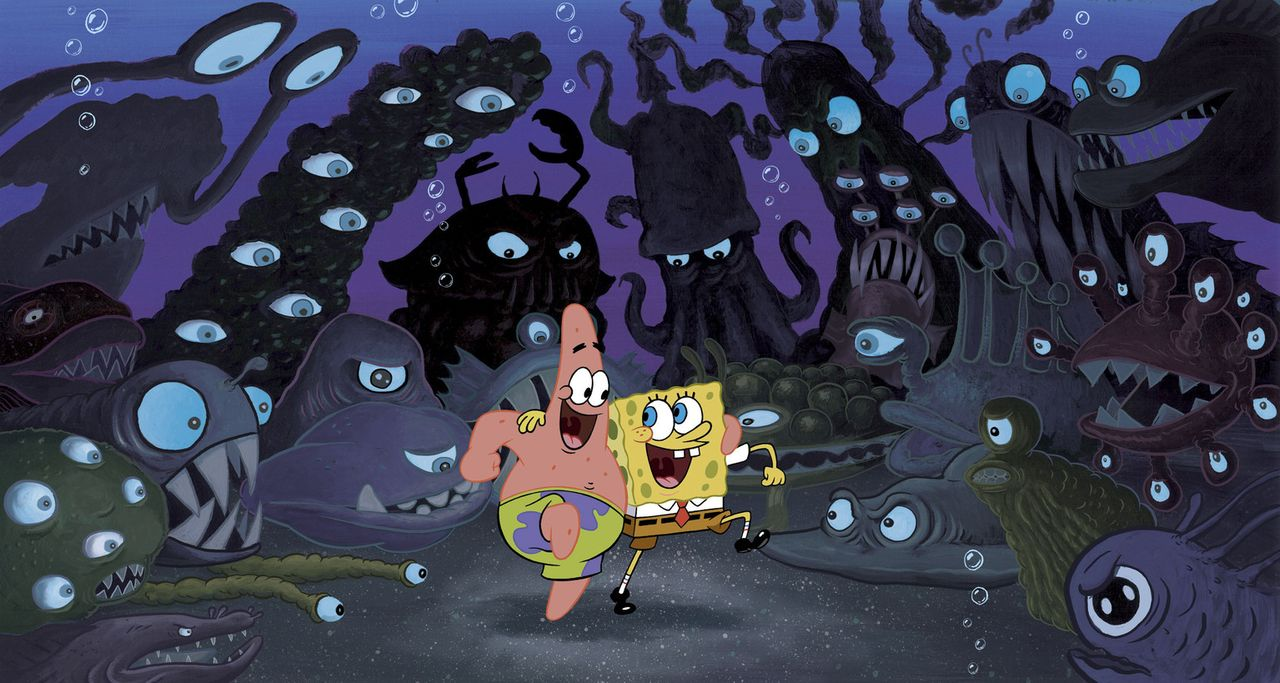 Selbst die gruseligsten Meeresbewohner können die gute Laune von Patrick (l.) und Spongebob (r.) nicht trüben ... - Bildquelle: Copyright   2004 PARAMOUNT PICTURES and VIACOM INTERNATIONAL INC. All Rights Reserved. NICKELODEON, SPONGEBOB SQUAREPANTS and all related titles, logo