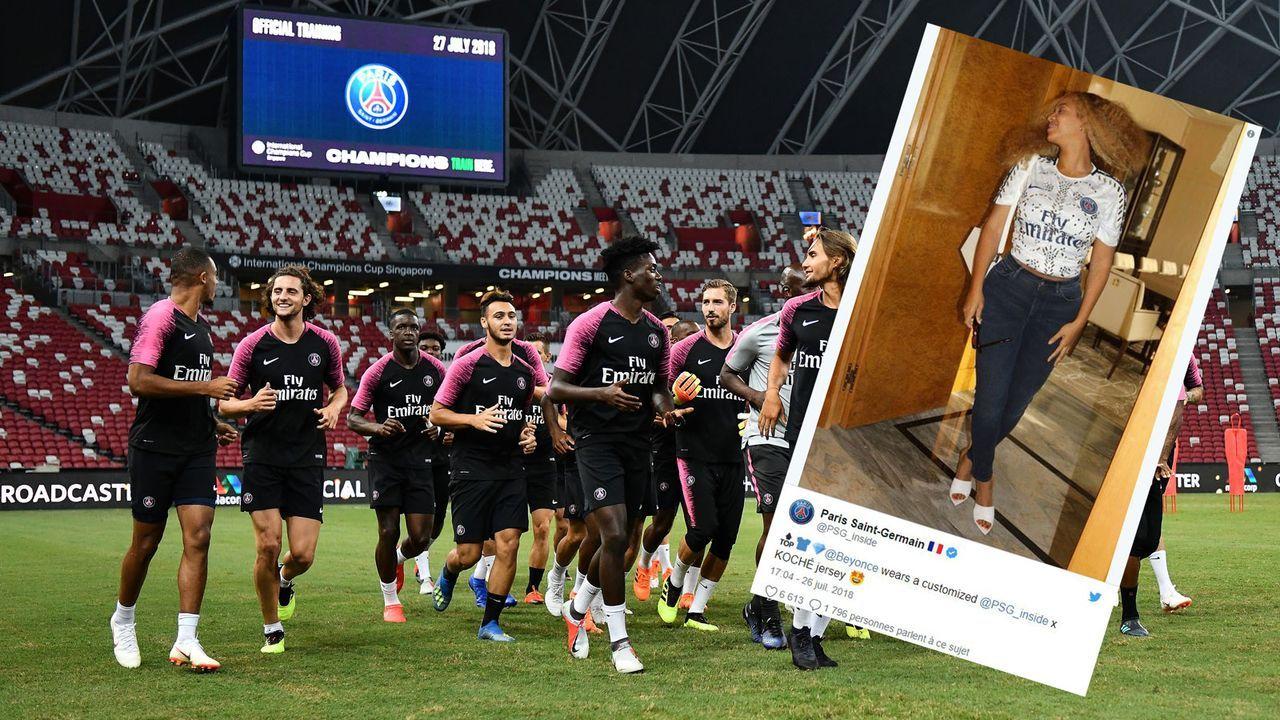 PSG-Edelfan Beyonce präsentiert Swarovski-Trikot - Bildquelle: 2018 Getty Images& Twitter/PSG_inside