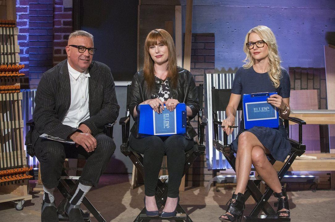 Die Jury (v.l.n.r.) Ray Azoulay, Besitzer der Galerie Obsolete, Amanda Dameron und Christiane Lemieux bekommen unerwartete Unterstützung ... - Bildquelle: 2015 Warner Bros.