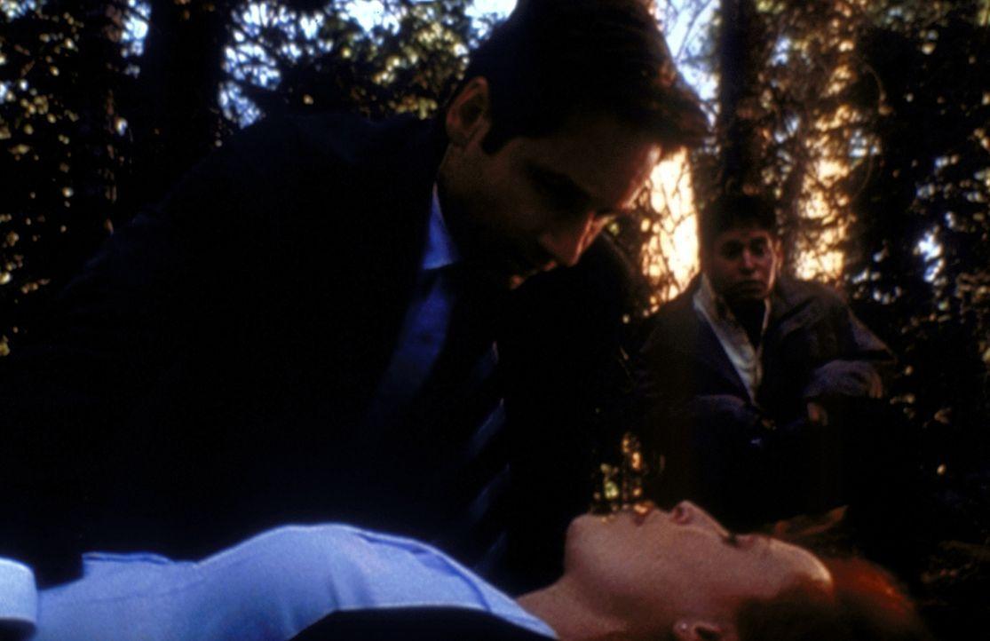 Mulder (David Duchovny, l.) und Richie (Judd Trichter, r.) kümmern sich um Scully (Gillian Anderson, M.), die auf der Suche nach einem Ufo ohnmächti... - Bildquelle: TM +   2000 Twentieth Century Fox Film Corporation. All Rights Reserved.