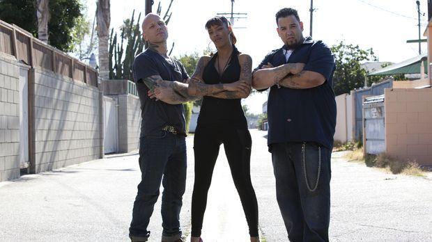 In L.A. haben sich Tommy Helm (l.), Big Gus (r.) und Jasmine Rodriguez (M.) d...