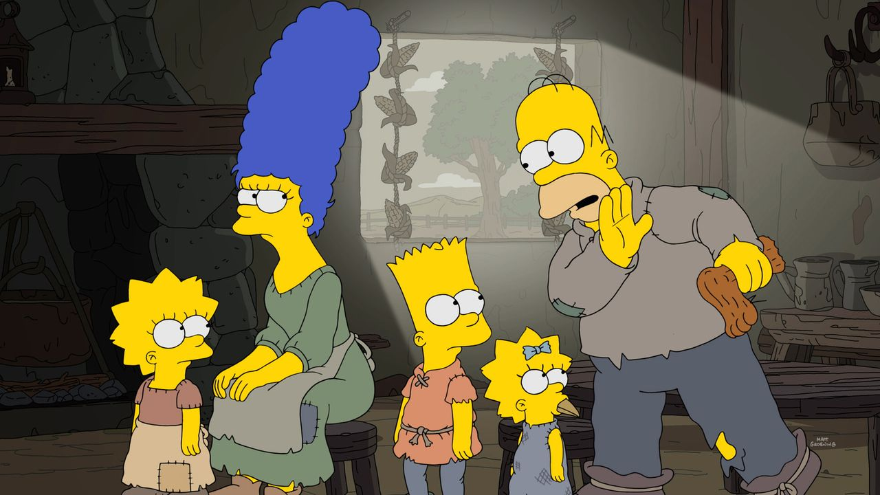 (v.l.n.r.) Lisa; Marge; Bart; Maggie; Homer - Bildquelle: 2017-2018 Fox and its related entities.  All rights reserved.