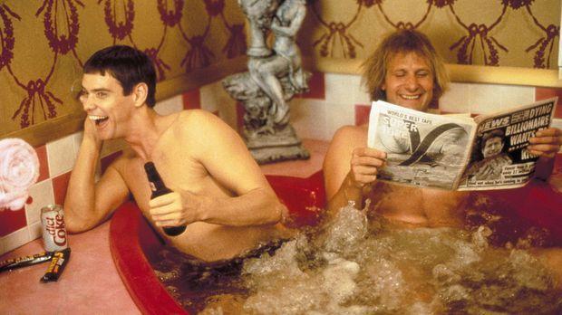 Llyod (Jim Carrey, l.) und Harry (Jeff Daniels, r.) träumen von einem eigenen...