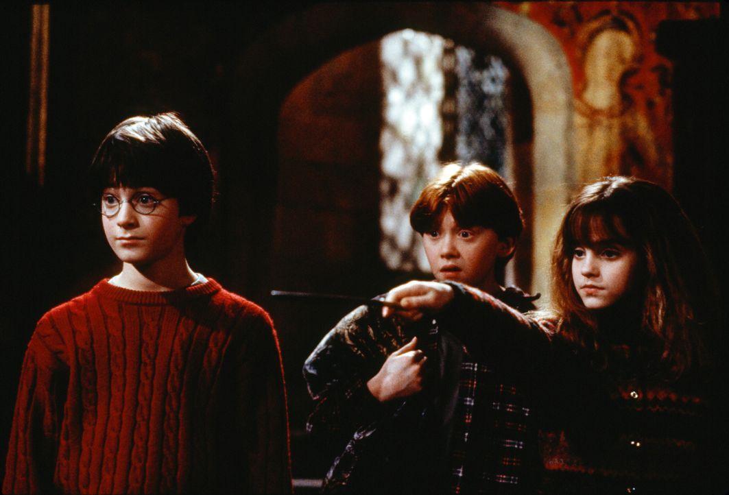Ein unschlagbares Trio: Harry Potter (Daniel Radcliffe, l.), Ron Weasley (Rupert Grint, M.) und Hermione Granger (Emma Watson, r.) ... - Bildquelle: Warner Bros. Pictures