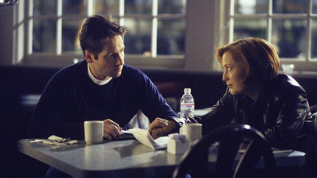 Scully (Gillian Anderson, r.) erzählt Mulder (David Duchovny, l.) von den rät...