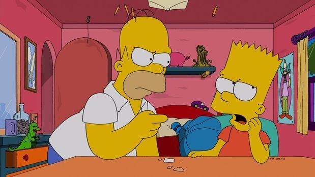 Die Simpsons - Langsam ist sogar Homer (l.) völlig überfordert mit Barts (r.)...