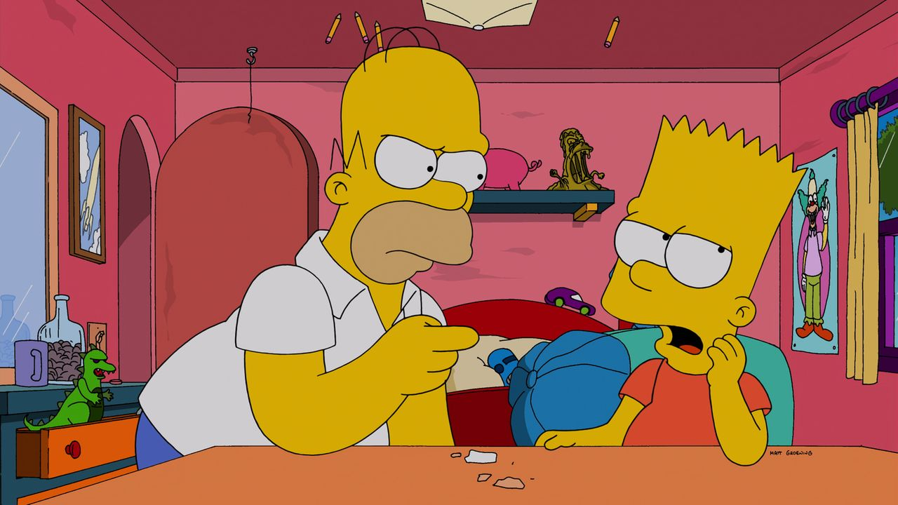 Langsam ist sogar Homer (l.) völlig überfordert mit Barts (r.) Eigenarten und wagt sich an krasse Erziehungsmethoden ... - Bildquelle: 2014 Twentieth Century Fox Film Corporation. All rights reserved.